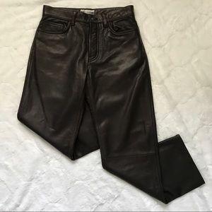 Gap Dark Brown Straight Leg Leather Pants 30